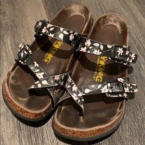 Viking floral print straps cork soles sandals